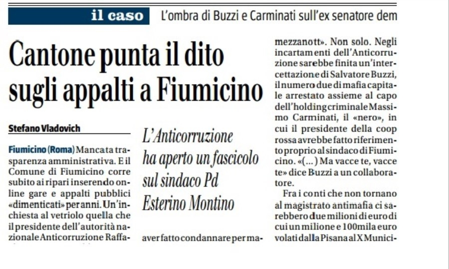 Mafia Capitale, Montino replica a Il Giornale