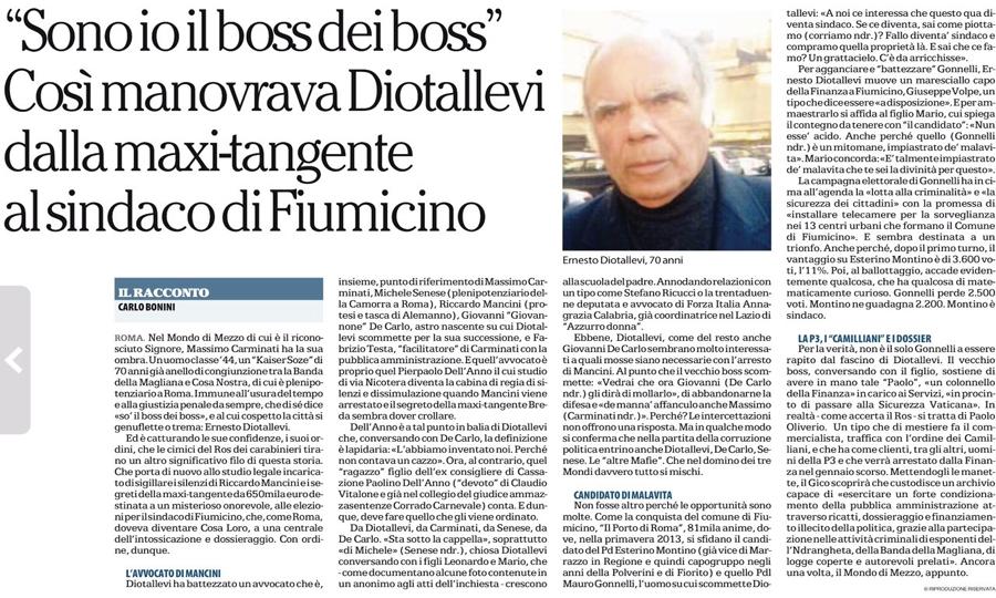 Diotallevi, il sindaco di Fiumicino e la maxi tangente
