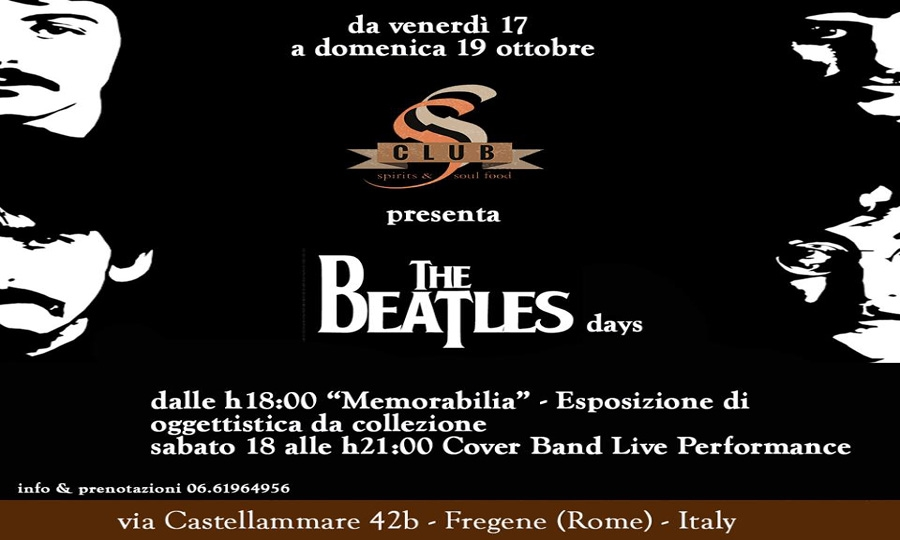 S club, The Beatles Days dal 17 al 19 ottobre