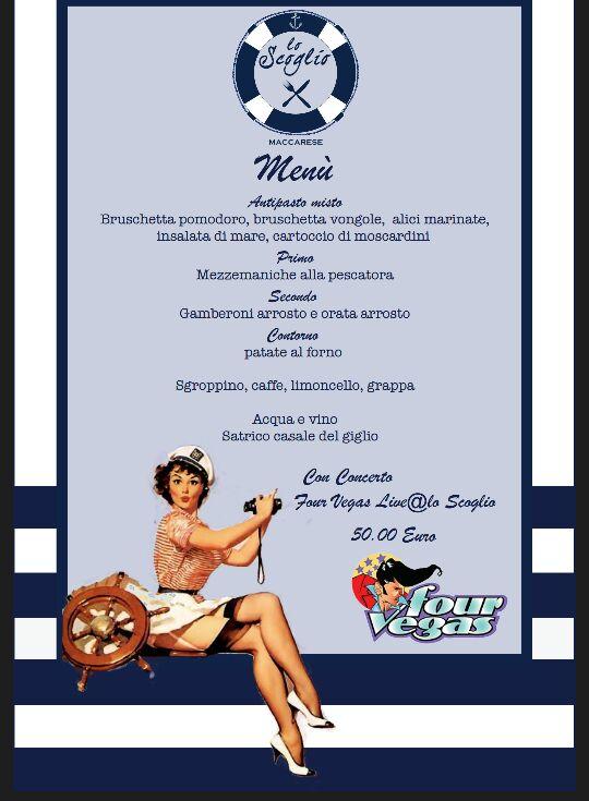 Scoglio Festa anni 50 menu