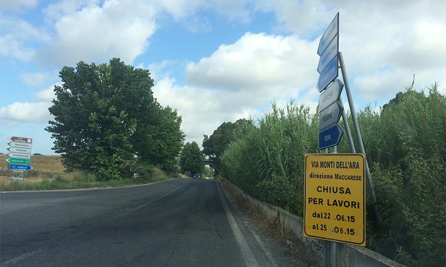 Maccarese, via Monti dell'Ara chiusa fino al 25 giugno