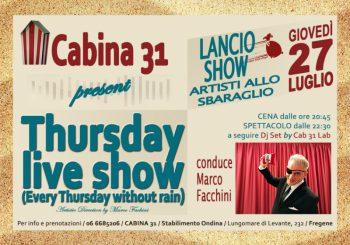 """""""Lancio Show"""" al Cabina 31 il 27 luglio"""