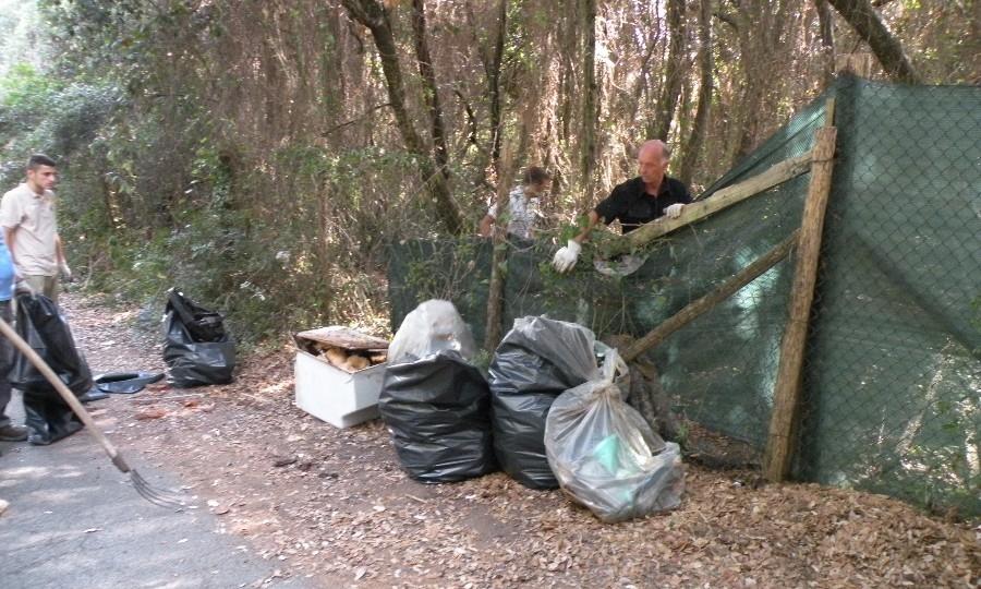 Tonnellate di rifiuti nel bosco, pulizia dei Federici