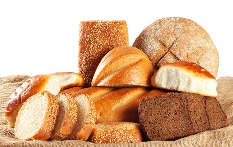 Brown bread, bread, cakes isolated on white background