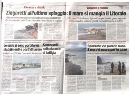 Erosione Fregene in prima pagina sui quotidiani nazionali -  Fregeneonline.com